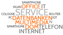 DOM IT SERVICE Daten Office Multimedia Internet Telekommunikation Service SmartHome WLAN Router Cologne PC IoI TV Smartphone Telefon